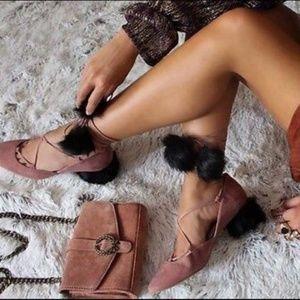 Zara Suede Pom Pom Fur Tie Up Lace Heels Cone Fuzz
